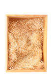 Wood Shipping Box With Straw Stock Photo