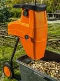 Wood shredder with wood chips Stock Images