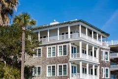 Wood Siding Beach House with Balconies Royalty Free Stock Photos