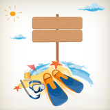 Wood sign in the beach icon vector illustration