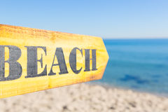 Wood Sign Beach Royalty Free Stock Photography