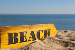 Wood Sign Beach Stock Images