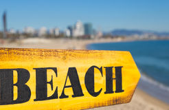 Wood Sign Beach Stock Photo