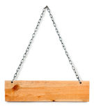 Wood sign board with chains Stock Photo