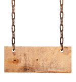 Wood sign board with chains Royalty Free Stock Photo