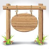 Wood Sign Board hanging with Rope on a grass. Wood Sign Board hanging with Rope on a grass and mushrooms. illustration royalty free illustration