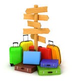 Wood sign board and travel bags. On blurred world map and sky in background Stock Photos