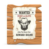 Wood sign board with wanted poster Royalty Free Stock Photos