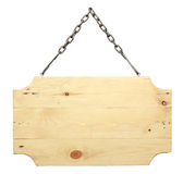 Wood sign from a chain Royalty Free Stock Photos