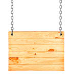 Wood sign from a chain Stock Photo