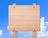 Wood sign with clipping path. Wood sign with clipping path and sky on background Royalty Free Stock Photos
