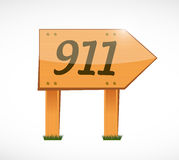 911 wood sign concept illustration design Stock Photo