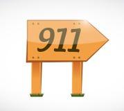 911 wood sign concept illustration design. Over white vector illustration