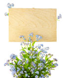 Wood Sign with Flowers / empty board for text Royalty Free Stock Image