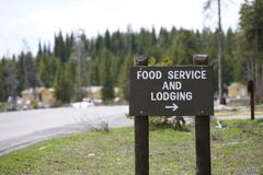 Wood sign for food service lodging Royalty Free Stock Photography