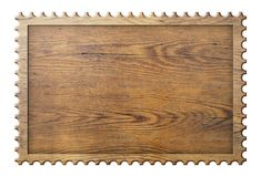 Wood sign in form of stamp frame isolated on white Stock Photos