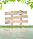 Wood sign and grass, green leaves frame  for summer background , Royalty Free Stock Photos