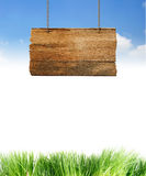 Wood sign hang Stock Photography