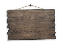 Wood sign hanging on rope and nail isolated Stock Images