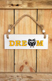 Wood sign, hanging from a rope Royalty Free Stock Photography