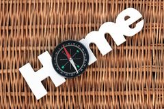 Wood Sign Home And Compass On Wicker Background Royalty Free Stock Photos