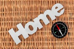 Wood Sign Home  And  Modern Magnetic Compass Royalty Free Stock Images