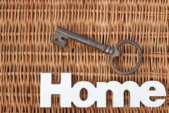 Wood Sign Home And Old Key On Rustic Wicker Background Stock Image