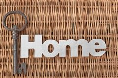Wood Sign Home And Old Key On Rustic Wicker Background Royalty Free Stock Photo