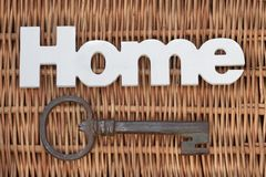 Wood Sign Home And Old Key On Rustic Wicker Background Royalty Free Stock Images