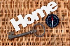 Wood Sign Home, Old Vintage Key And Compass Stock Photo