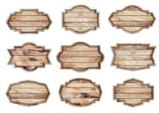 Wood sign isolated on white background Royalty Free Stock Photo