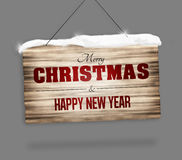 Wood sign merry christmas and happy new year Royalty Free Stock Image