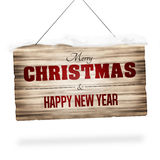 Wood sign merry christmas and happy new year Stock Images