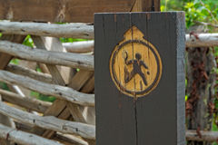 Wood sign to rural tennis court Royalty Free Stock Images