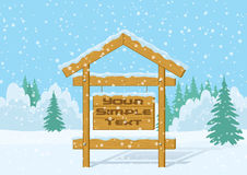 Wood Sign in Winter Forest Royalty Free Stock Photography