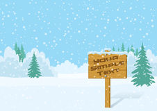 Wood Sign in Winter Forest Royalty Free Stock Images