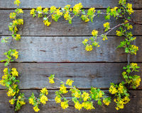 Wood Sign With Yellow Flowers Background Royalty Free Stock Images