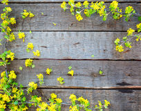 Wood Sign With Yellow Flowers Background Stock Photography