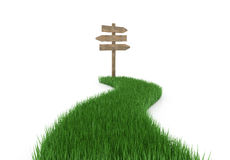 Wood signboard on driveway grass Stock Photography
