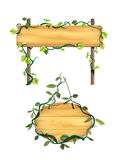 Wood signs. Some wood signs framed by leafy vines. Digital illustration Stock Photography