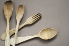 Wood silverware Royalty Free Stock Image