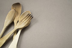 Wood silverware Stock Photo