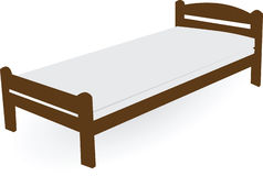 Wood single bed Stock Photo