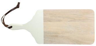Wood skärbräda för naturligt ljus med läderremmen Fotografering för Bildbyråer