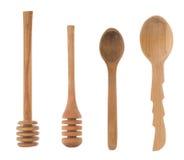 Wood sked och stick som utensils Fotografering för Bildbyråer