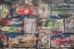Wood skrivbordbakgrund för gammal färgrik teakträ Royaltyfri Foto