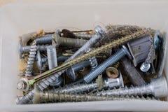 Wood skruvar och skruvar i en plast- seminariumbehållare Montör a Royaltyfri Bild