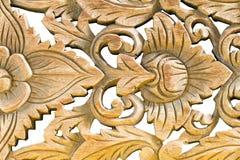 Wood skulptur för antik tappning på vit bakgrund Royaltyfria Bilder