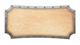 Wood skylt med den falska ramen som isoleras på vit Royaltyfri Fotografi