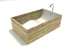 Wood slat bathtub on white Royalty Free Stock Photography